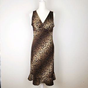 BCBGMaxAzria cheetah print long dress ruffle vneck